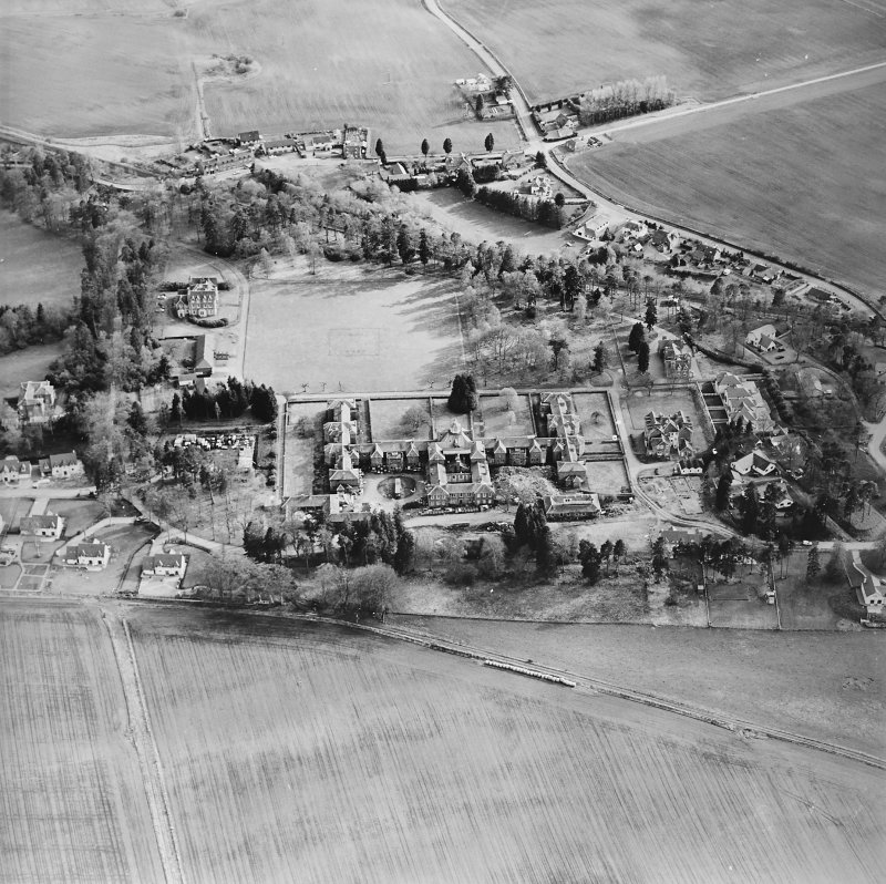 Oblique aerial view of the hospital, taken from the N.