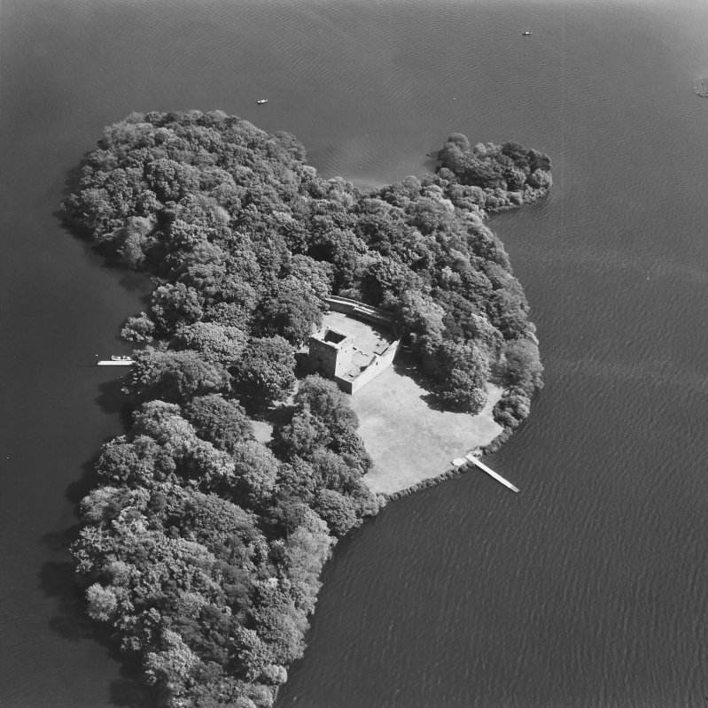 Lochleven Castle. General oblique aerial view.