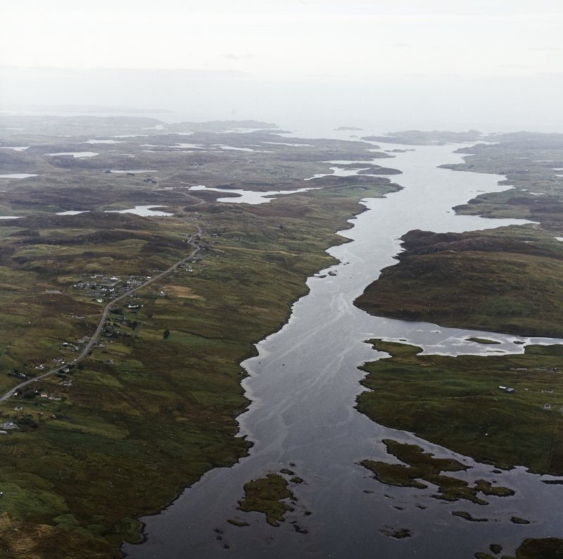General oblique aerial view looking down Loch Erisort with the township adjacent, taken from the WSW.