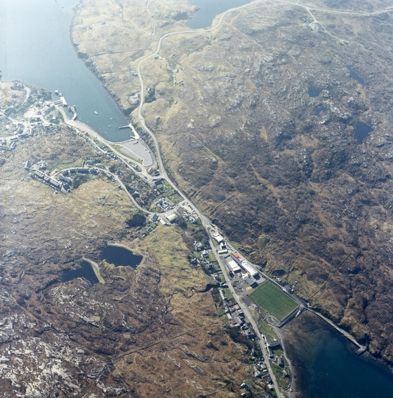 Oblique aerial view centred on the village, taken from the NNW.
