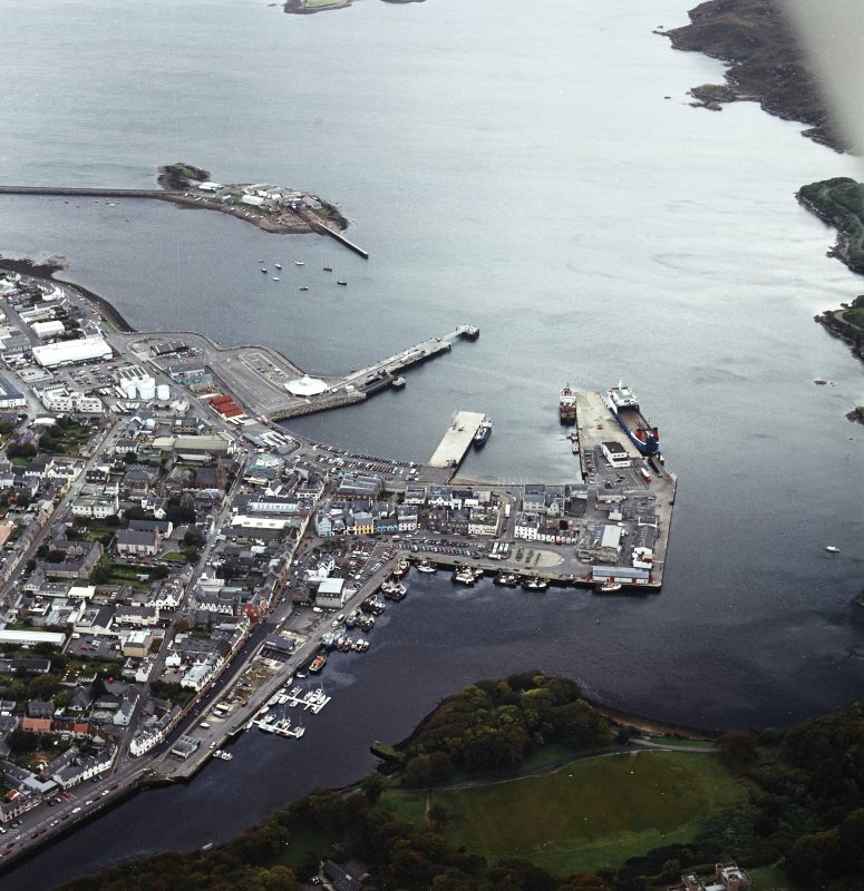 Oblique aerial view of Stornoway centred on the harbour, taken from the NNW.