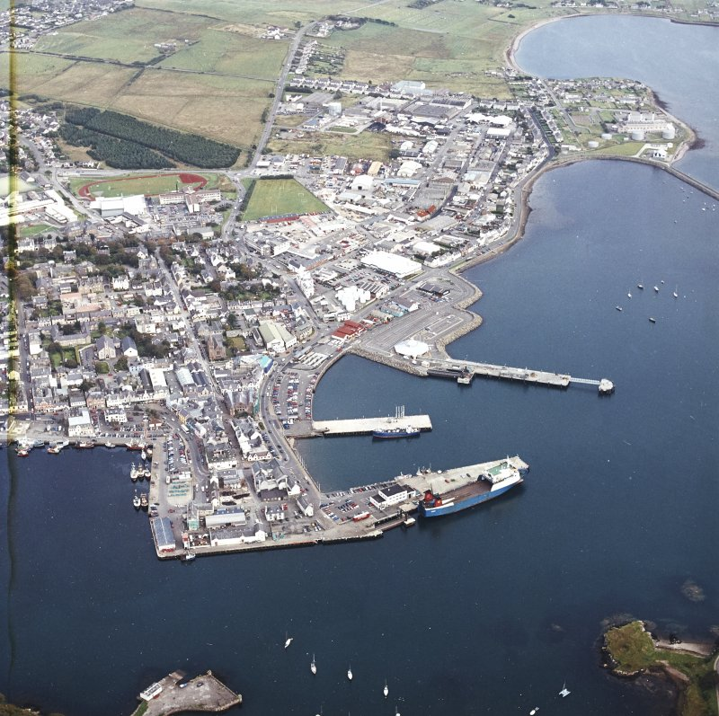 Oblique aerial view centred on Stornoway harbour, taken from the W.