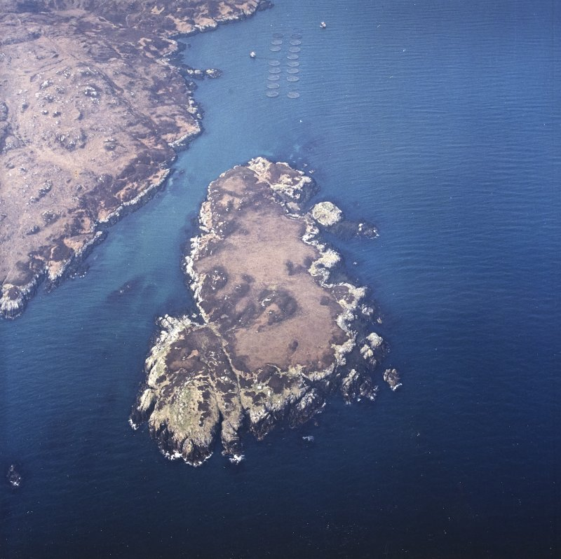 Oblique aerial view centred on the remains of the castle, taken from the E.