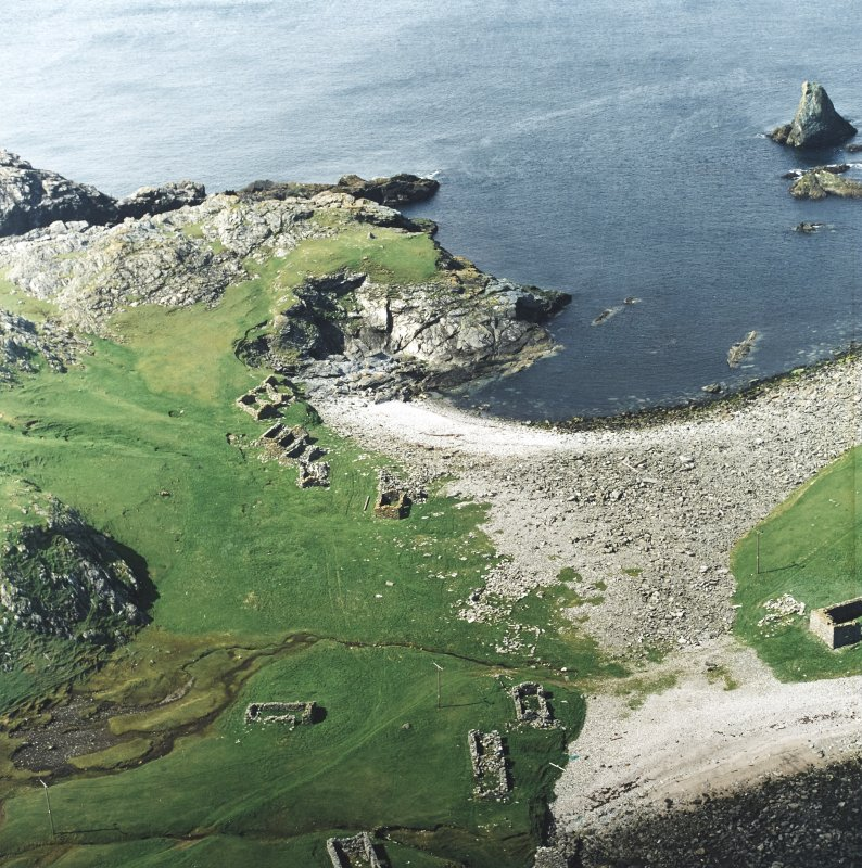 Oblique aerial view centred on the remains of the fishing station, taken from the SSE.