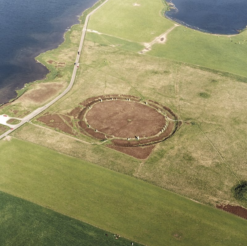 Aerial view of Orkney, Ring of Brodgar, henge and stone circle, taken from the NW.   Also visible are   cairns and the 'Comet Stone'.