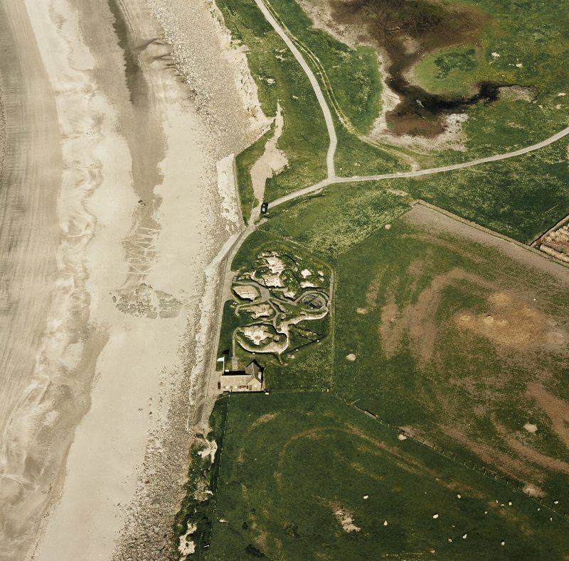 Aerial view of Orkney, Bay of Skaill, taken from the W, Skara Brae settlement.