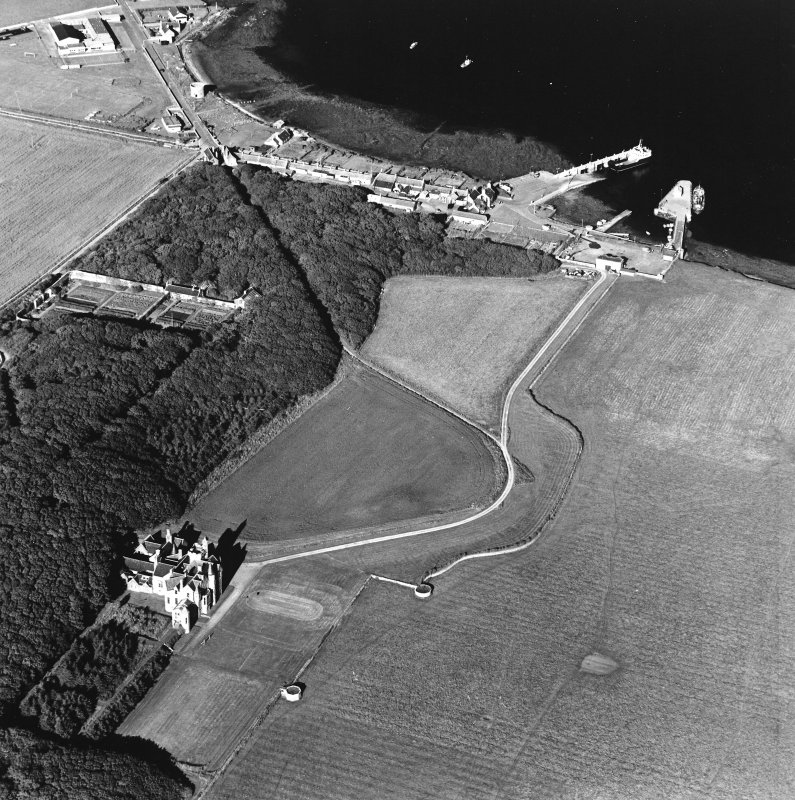 Oblique aerial view of Orkney, Shapinsay, Balfour Castle, Balfour village and harbour, taken from the W.