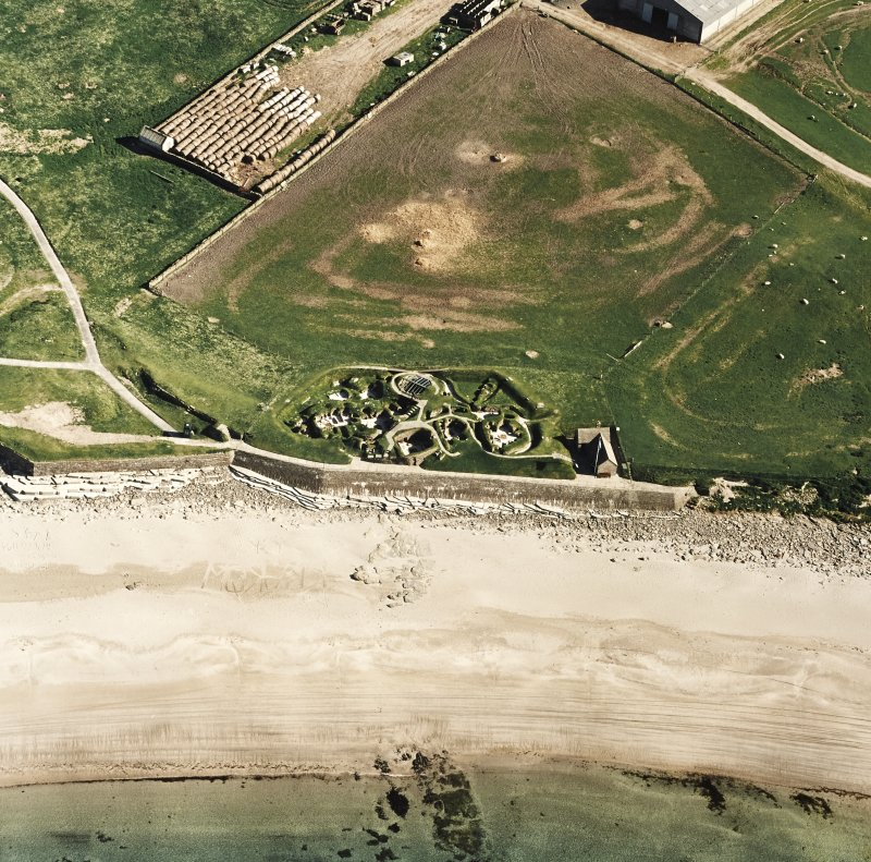 Aerial view of Orkney, Bay of Skaill, taken from the NNW, Skara Brae settlement.