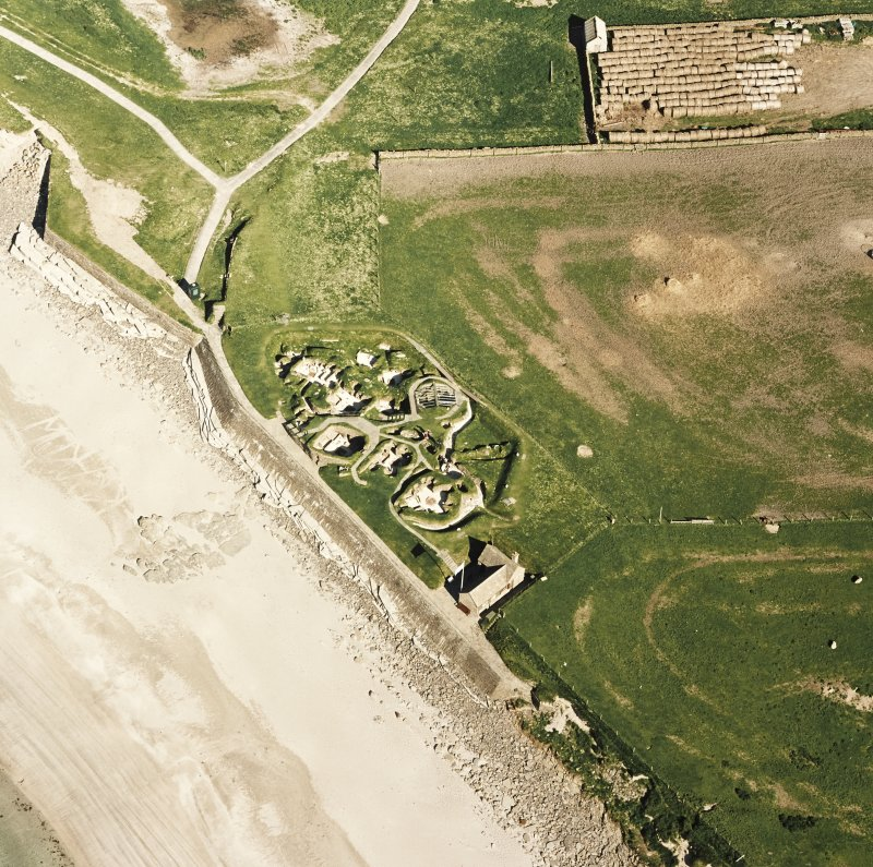 Aerial view of Orkney, Bay of Skaill, taken from the NW, Skara Brae settlement.
