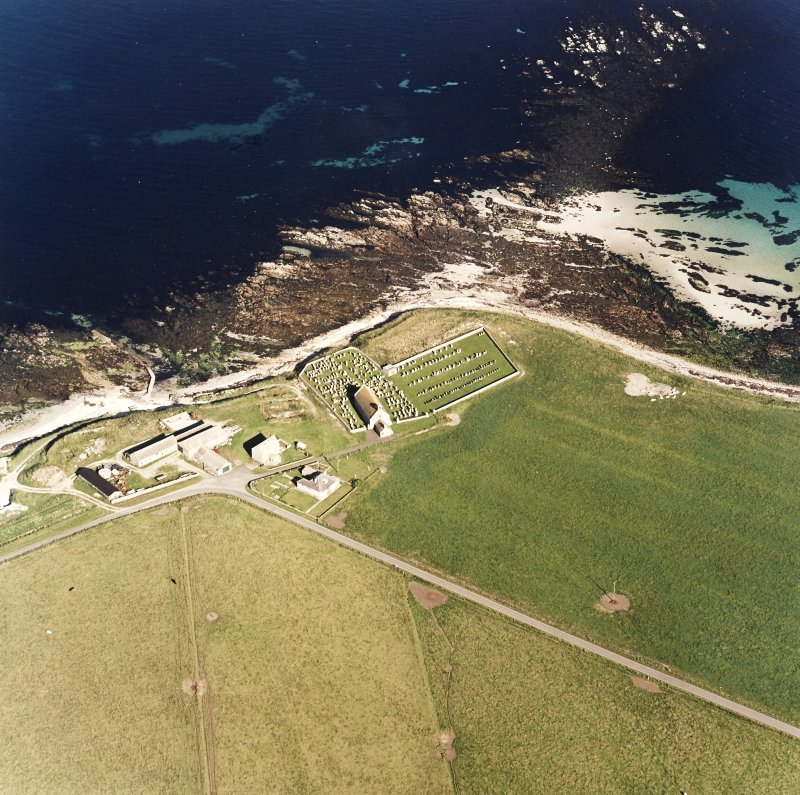 Aerial view of Orkney, Skaill Church and churchyard, taken from the W.  Also visible is the possible broch.
