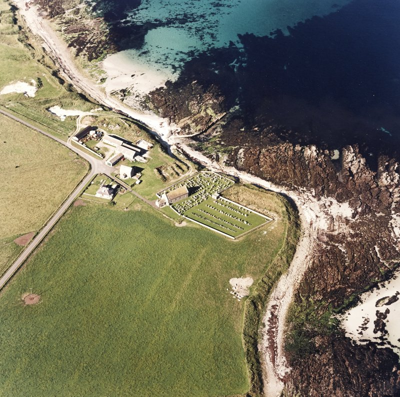 Aerial view of Orkney, Skaill Church and churchyard, taken from the SW.  Also visible is the possible broch.