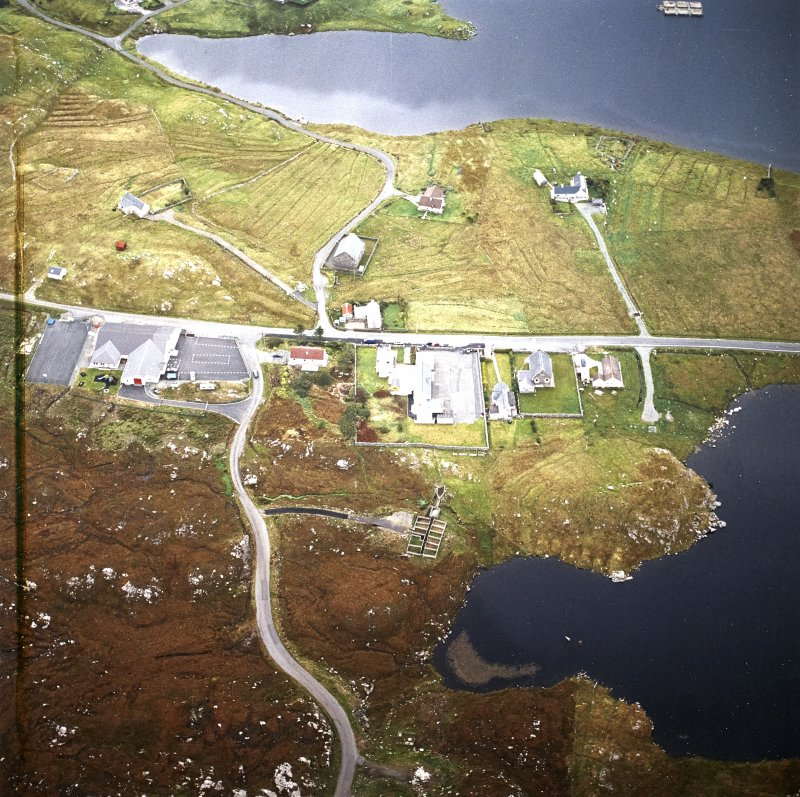 Oblique aerial view centred on the township, taken from the WSW.