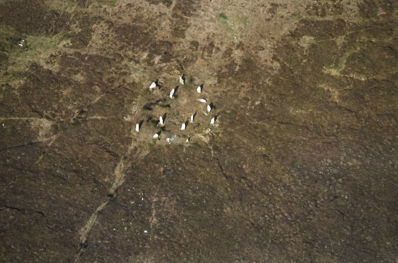Oblique aerial view centred on the remains of the stone circle, taken from the S.
