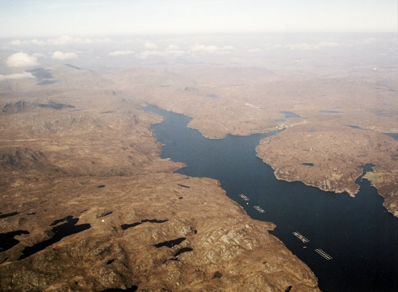 General oblique aerial view looking along Loch Sealg, taken from the SE.