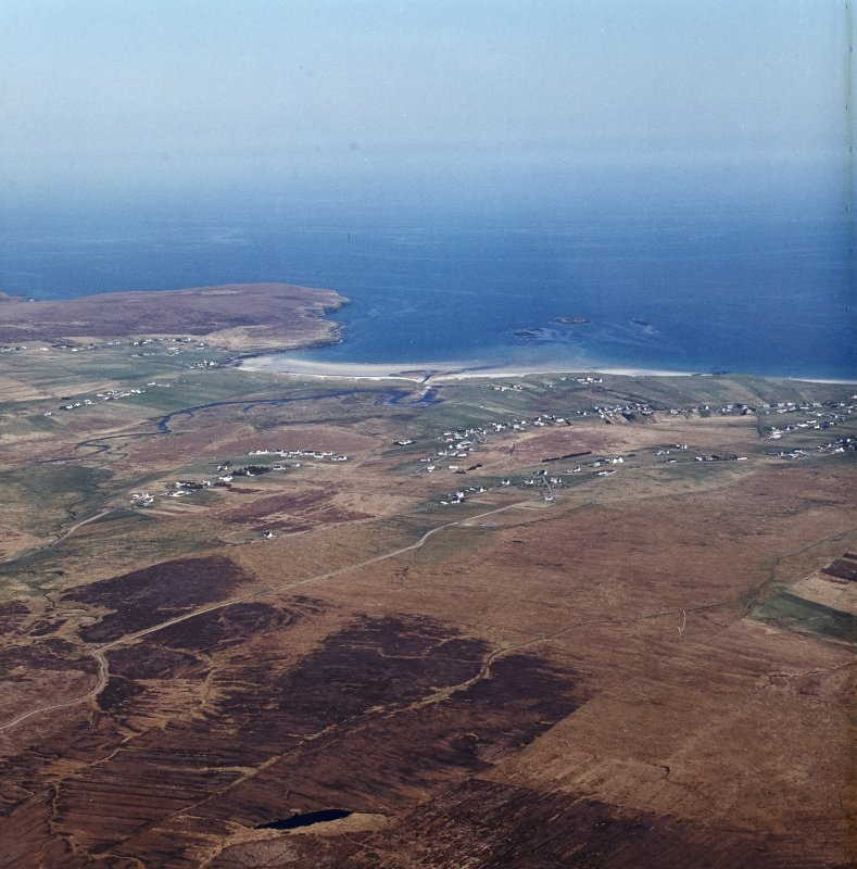 General oblique aerial view of the crofting township, taken from the W.
