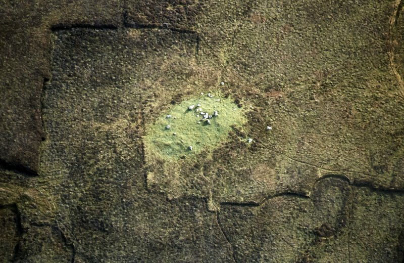 Oblique aerial view centred on the remains of the chambered cairn, taken from the NW.