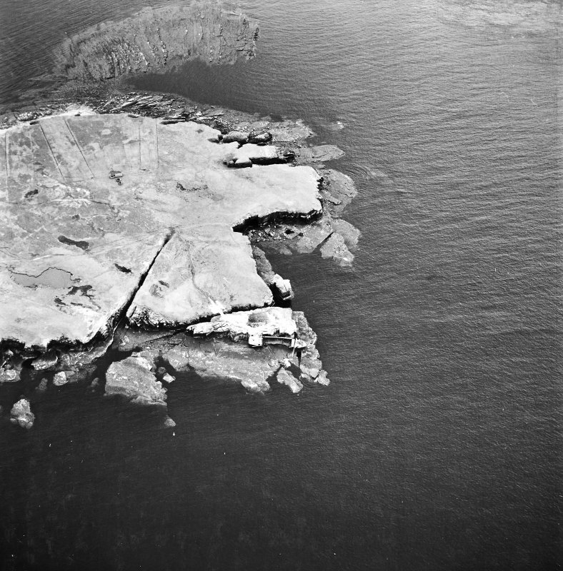 Stroma, oblique aerial view, taken from the N, centred on Mell Head.