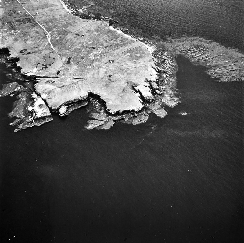 Stroma, oblique aerial view, taken from the W, centred on Mell Head.
