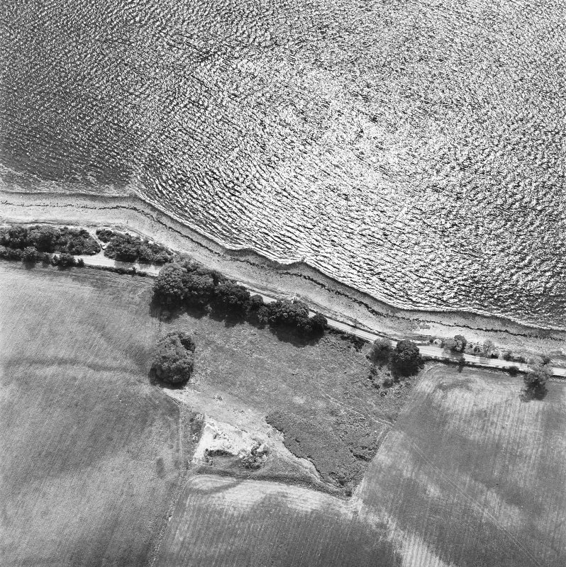 Coulmore, oblique aerial view, taken from the NE, centred on the remains of a possible castle and the cropmarks of an enclosure and rig.