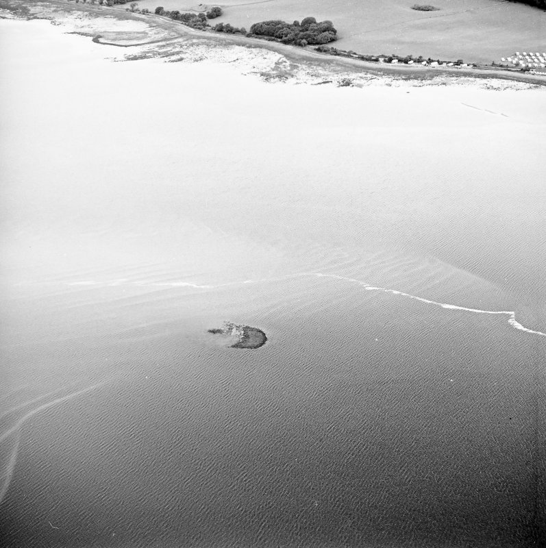 Oblique aerial view centred on the remains of the crannog, taken from the SSE.