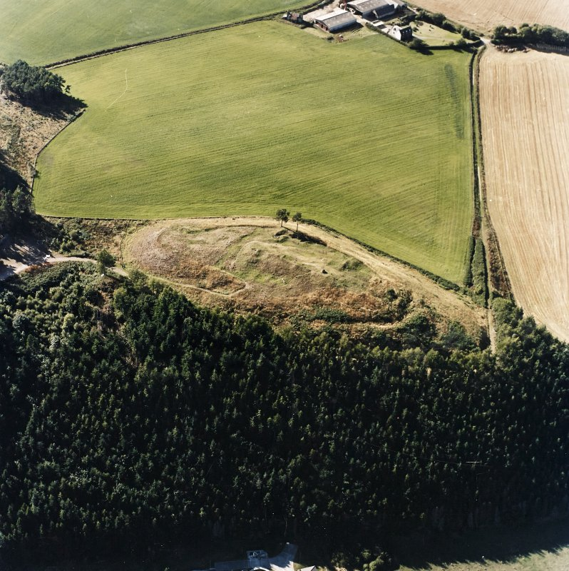 Oblique aerial view centred on the remains of the castle and the possible fort, taken from the ESE.