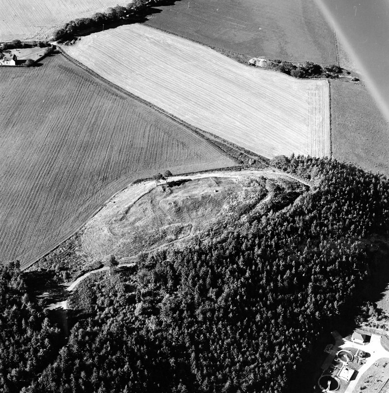 Oblique aerial view centred on the remains of the castle and the possible fort, taken from the SSE.