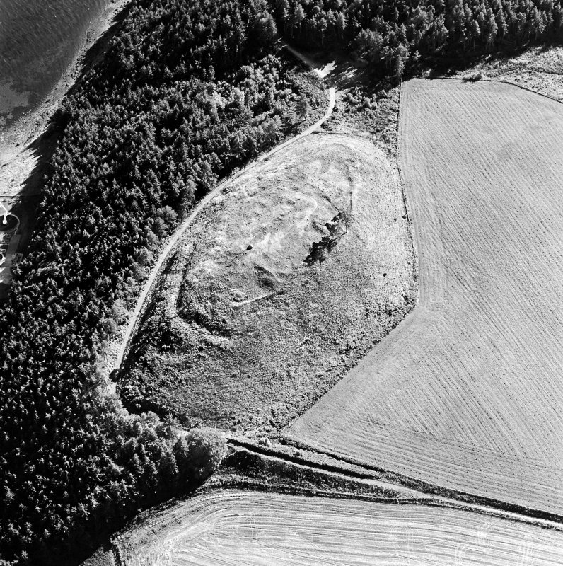 Oblique aerial view centred on the remains of the castle and the possible fort, taken from the NNE.