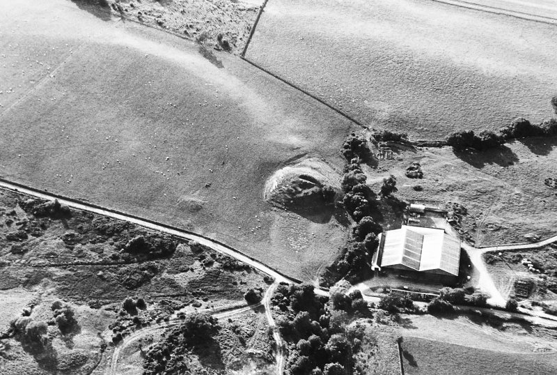 Oblique aerial view centred on the remains of the motte, taken from the ESE.