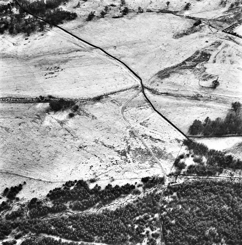 Ballourie, oblique aerial view, taken from the N, showing the remains of a township and rig in the left half of the photograph, and another township, buildings, banks and an enclosure in the right half.