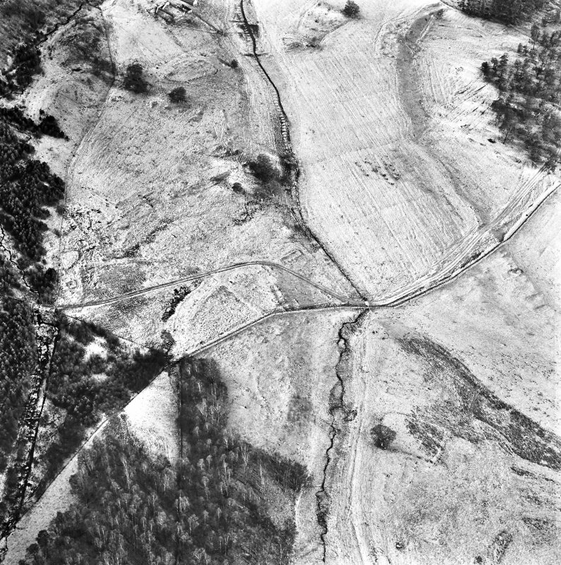 Ballourie, oblique aerial view, taken from the WSW, showing the remains of a township and rig in the top half of the photograph, and another township, buildings, banks and an enclosure in the bottom half.