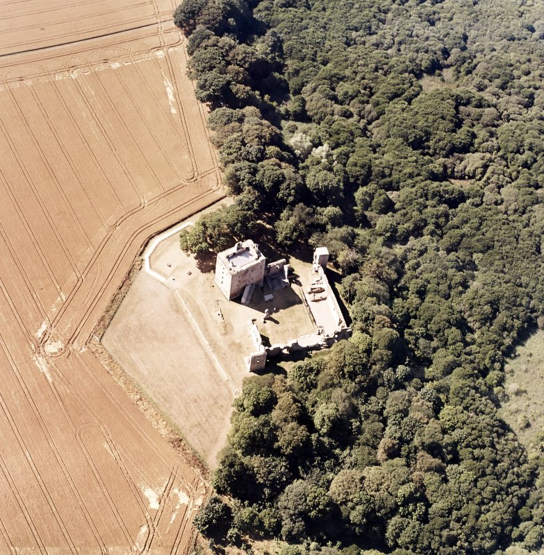 Oblique aerial view centred on the Bishop's Palace, taken from the ESE.