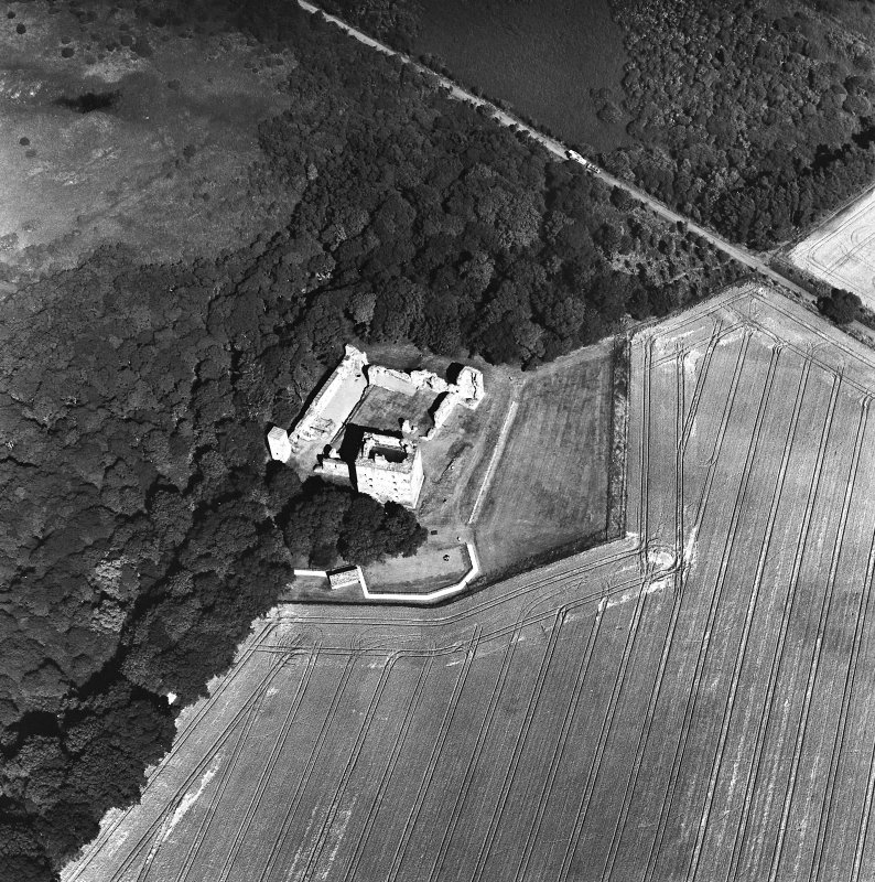Oblique aerial view taken from the WSW, centred on the Bishop's Palace.