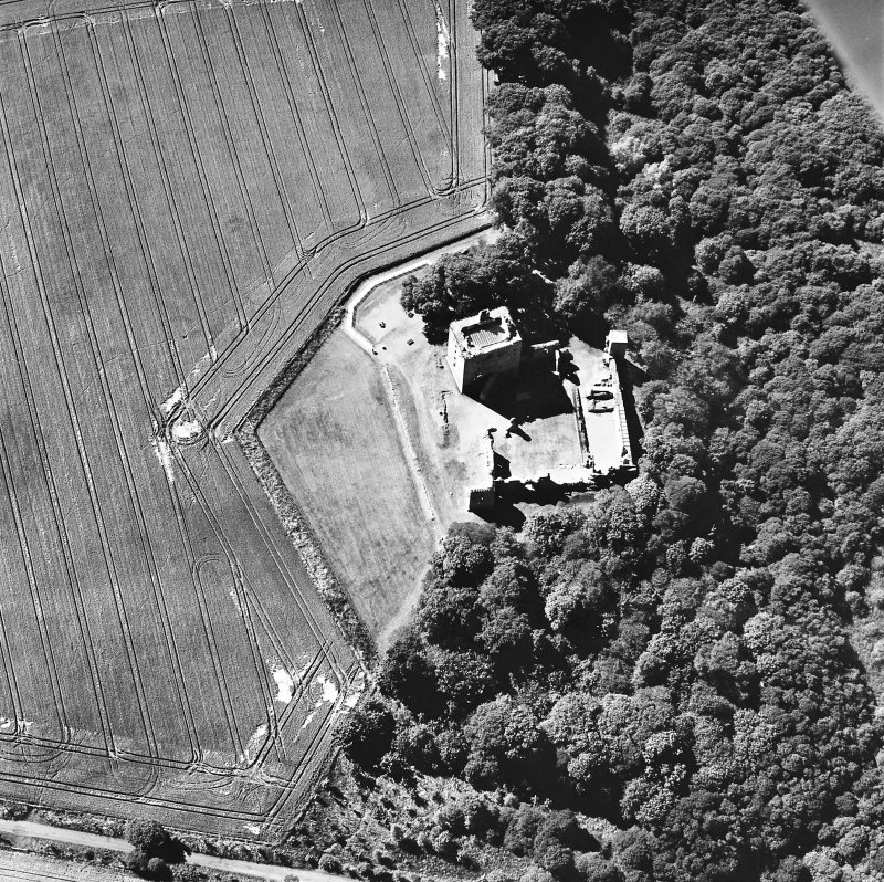 Oblique aerial view taken from the E, centred on the Bishop's Palace.