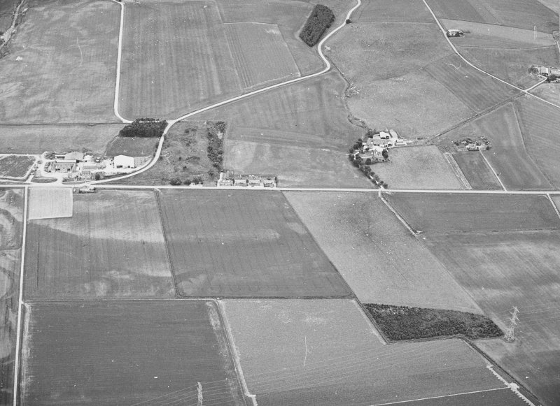 Oblique aerial view of Auchinove centred on  temporary Roman camp.