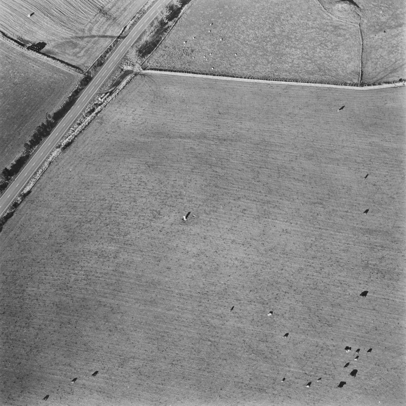 Oblique aerial view of Rhyne, Craw Stone centred on a Pictish symbol stone with cairn adjacent, taken from the SE.