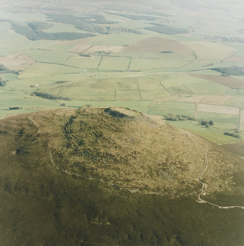 Oblique aerial view of Tap O' Noth vitrified fort, taken from the N.