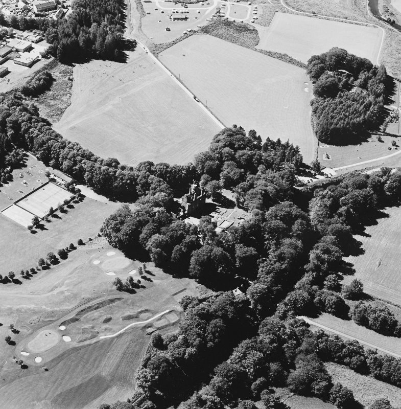 Oblique aerial view of Huntly Castle, taken from the ENE.