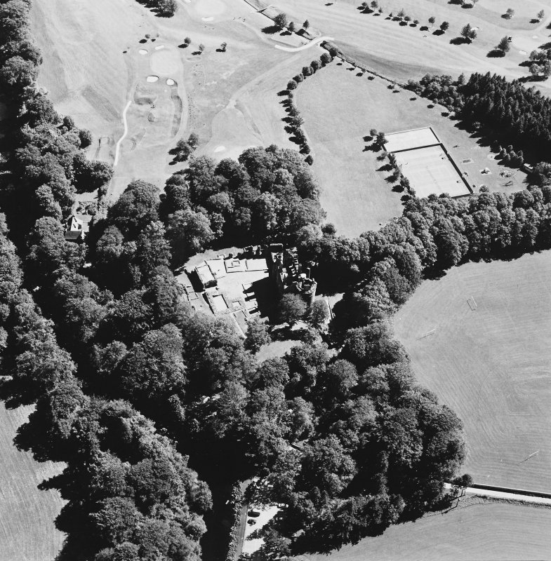 Oblique aerial view of Huntly Castle, taken from the WNW.