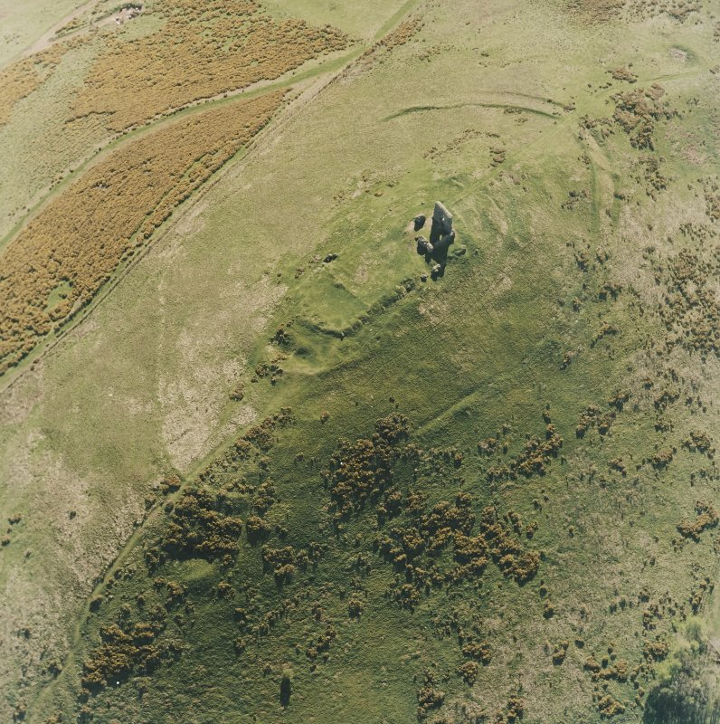 Oblique aerial view centred on the remains of the fort taken from the NE.