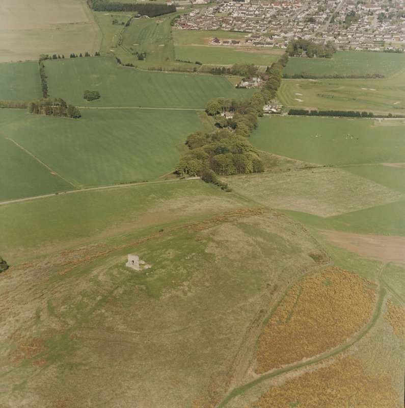 Oblique aerial view centred on the remains of the fort taken from the WSW.