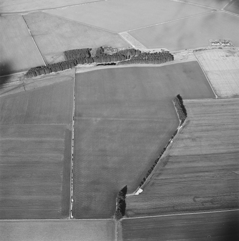 Oblique aerial view centred on the soil marks of the Roman Temporary Camp taken from the NNE.