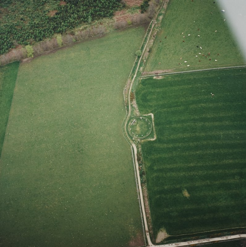 Oblique aerial view of the remains of the recumbent stone circle, taken from the E.