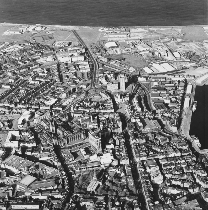Aberdeen City Centre, oblique aerial view, taken from the WSW, looking along Union Street.