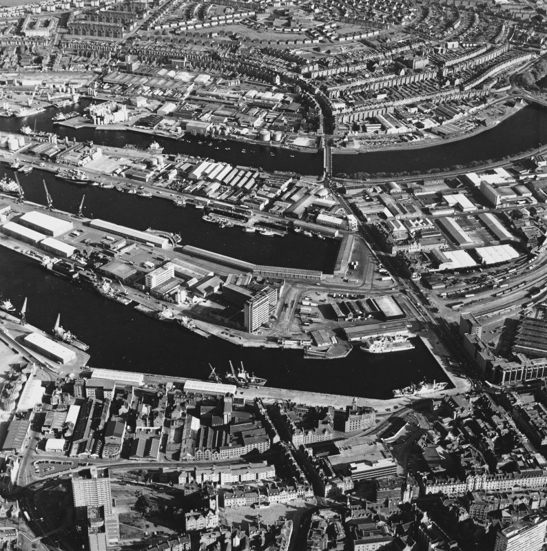Aberdeen Harbour, oblique aerial view, taken from the NNW. The E end of Union Street is visible in the foreground.