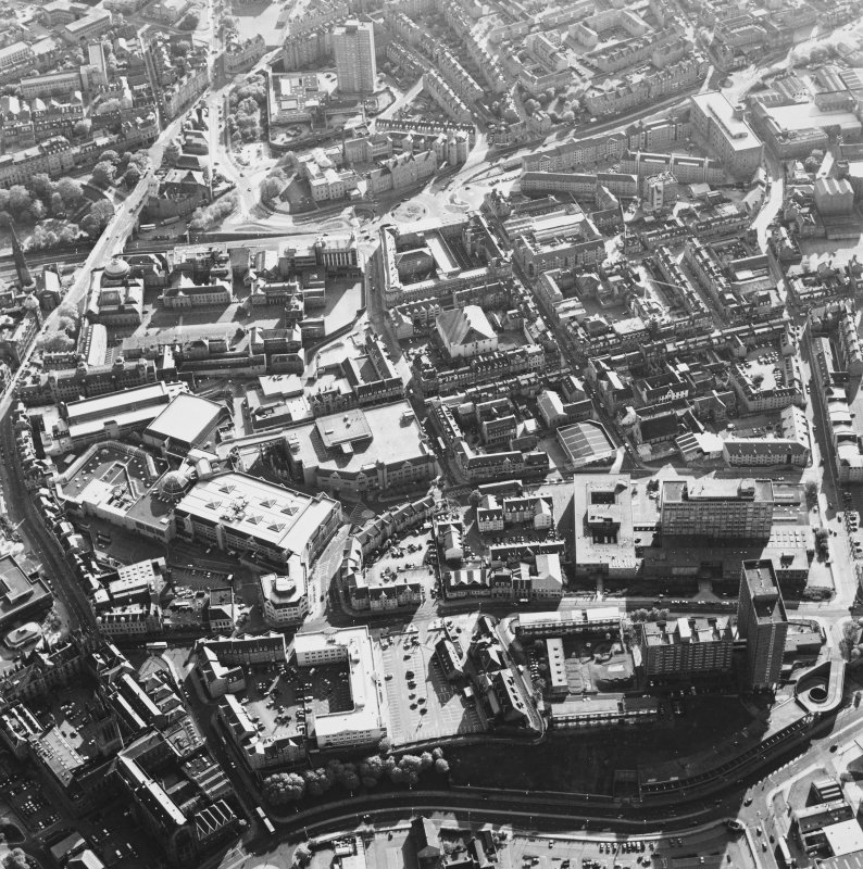 Aberdeen City Centre, oblique aerial view, taken from the ENE, showing the Marischal College in the bottom left-hand corner of the photograph.