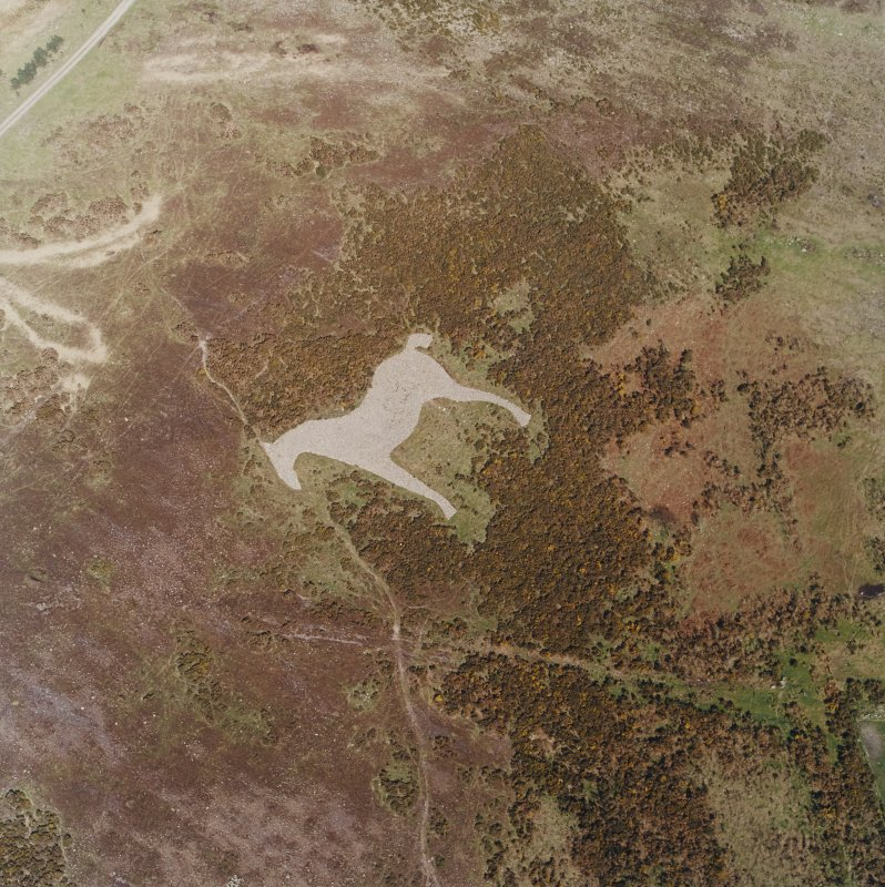 Oblique aerial view centred on the hill-figure of a horse, taken from the W.