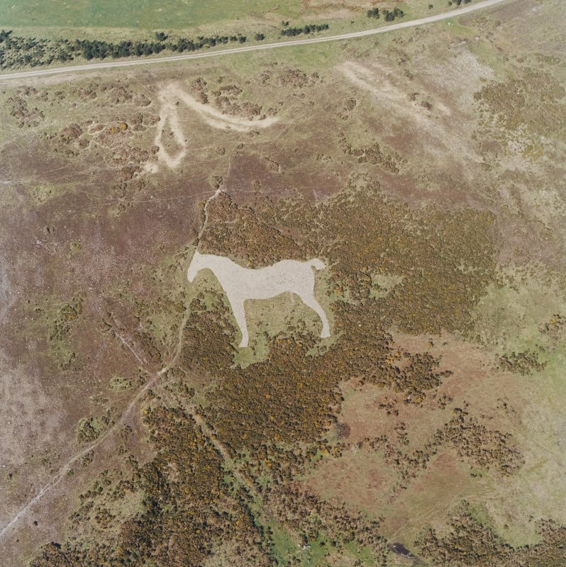 Oblique aerial view centred on the hill-figure of a horse, taken from the SW.