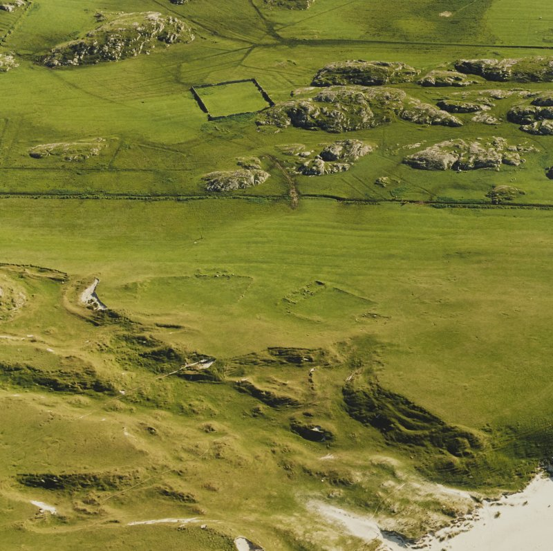 Oblique aerial view ofTraigh Na Criche, taken from the north, centred on farmstead and cultivation remains.