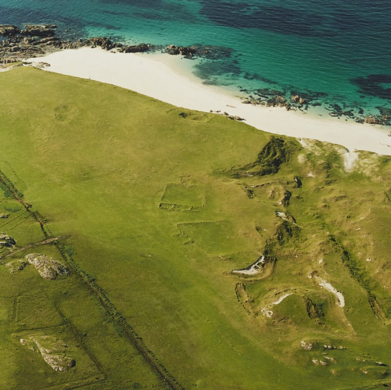 Oblique aerial view ofTraigh Na Criche, taken from the south, centred on farmstead and cultivation remains.