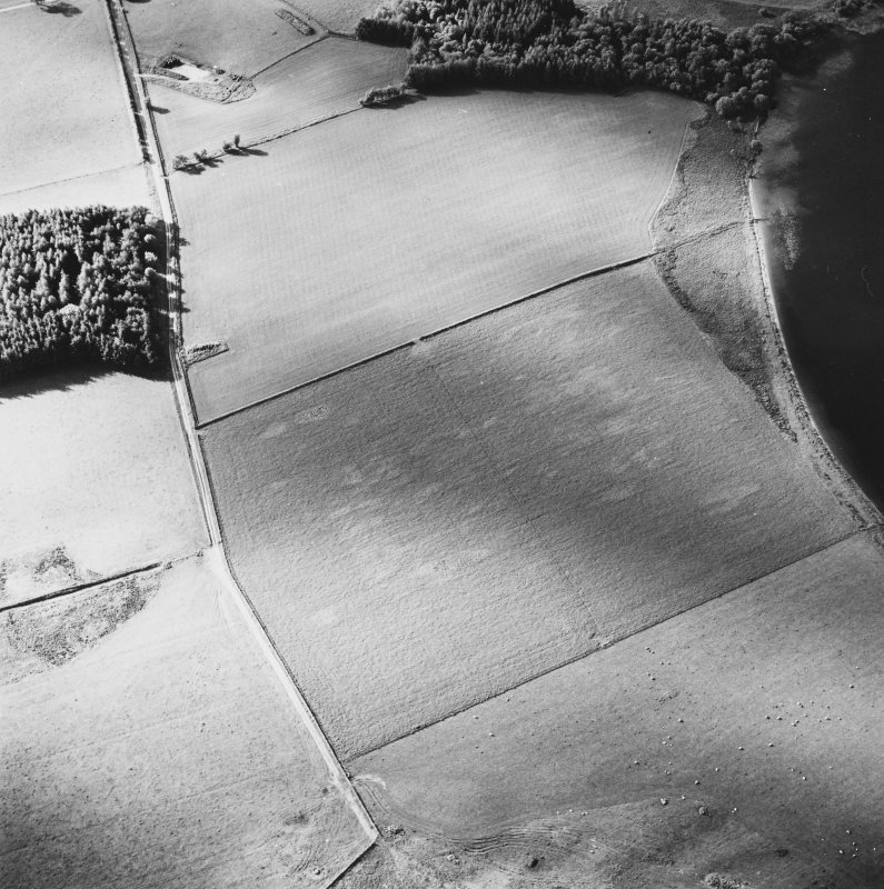Oblique aerial view centred on the faint cropmarks of the platform of the Roman Fort, taken from the SSE.